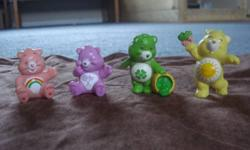Finally letting go of some of my childhood toys. I have 2 original 80s Care Bears figurines, as well as 2 new (candy machine). The originals are Funshine Bear and Good Luck Bear. Asking $8 for all. Please contact Stephanie if interested. Pick up only, no