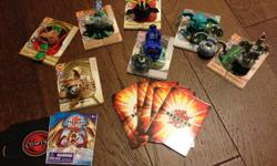 9 bakugon, magnetic cards and regular cards.
