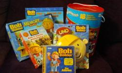 BOB THE BUILDER Toys   1. 18 Bob The Builder DVD (4 are Brand NEW in pkg.)   2.Bob the builder  UNO Game Brand NEW in Pkg.   3.Bob the Builder PC Game NEW in pkg.   4.Bob the Builder The Album (Music CD) Bob Songs   5. Bob the Builder Storybook Mixed up