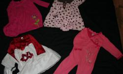 I am selling a lot of 24 month girls clothing all in excellent shape, most of wich has never been worn or only worne once or twice! No stains and come  from a smoke free home!!!   Picture 1 Carters dress w/ flower $5 Carters polka dot dress $5 x-mas dress