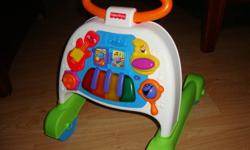 I have some toys 6 months+, ALL in excellent to new condition, not used much! Have far too many toys and Christmas is coming!!! There is a Fisher Price Walker, it makes lots of music! There is a Playskool ride on car that is a walker as well!(9months+)