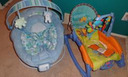 Pic #1- 2 baby chairs that bounce, vibrate and play music. Great condition. Only used a few times. $35.00 for both. Pic #2- Baby play pad comes with pillow. It folds and zips up when your done using it. Very clean. Great condition. $10.00  Pic #3- Baby