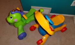 Pic #1- 2 toddler cars for them to push and drive that talk and play music. Great condition. $30.00 for both.(on hold)  Pic #2- Baby play and learning centre. Great condition. $20.00.(on hold)  Pic #3- 9 medium sized toys. Most talk and play music. All