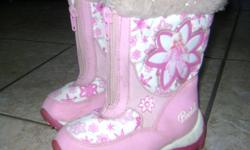 - Barbie winter boots. Good used condition. Size 7. $5.  - Pink cowboy boots. Good condition. Size 7. $5.  - Pink 'ugg' style boots. Good condition. Size 7. $5.  - LIKE NEW dress shoes, red/white. Size 7.5. $5.  - Nike running shoes. Size 7.5. Good