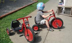 Sturdy, durable low seated tricycles for children 6 to 8 years old. Would be great for an after school care program or for riding around the neighborhood, with no worries about tipping over or falling off. Excellent quality, almost brand new with little