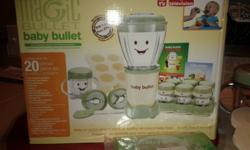 Want to make organic baby food for your little one? I have a gently used baby bullet system by Magic Bullet. It was bought in June 2011 and still in great condition. No longer needed since my baby is eating solids now. Comes with all original pieces