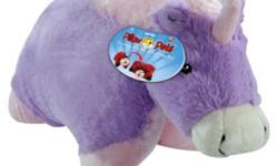 """Brand new with tag. Great gift for your little one! This is the full size 18"""" Pillow Pets Magical Unicorn. A super-soft chenille plush folding stuffed animal. So cuddly you'll never want to put it down! Starts out as your pal, then un-velcro its belly,"""