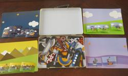 Use 'visual cards' to follow and create a magnetic pattern and scenic paper behind to create a beautiful magnetic scene. All pieces included. All fits together in a metal carrying case. Opened, but never used. Selling on other sites. No holds. East end
