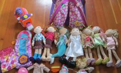 8 Dolls, 1 tent, sleeping bags, motorcycle, and lots of accessories. Over $200 of Groovy Girl!