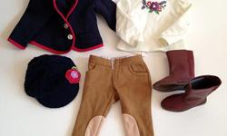 """Equestrian riding outfit made by Maplelea doll company. Fits 18"""" dolls. Hat is crocheted. Excellent condition. Non smoking home. We do have dogs."""