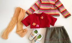 """5 piece outfit fits 18"""" dolls. Made by Maplelea doll company. Excellent condition, although one shoe is missing a tongue. Non smoking home. We do have dogs."""