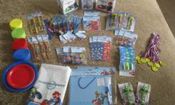 Once again my son has selected a theme that was not available in canada.  We have some extra items I had shipped in from the U.S. These are BRAND NEW in unopened pkgs except for the table cloth   3 pkgs of Mario Kart pencil crayons (6pk)  4 pkgs of Mario