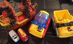 Mega Blocks Dump & Cement Truck. Pirate ship, small ambulance and small fire truck. Please email, text or phone if interested. Located in Lumsden but can deliver to Regina. Posted on other sites.