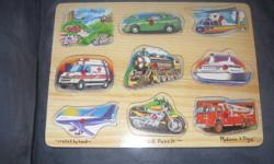 I sm sellling a Melissa and Doug Sound vehicle puzzle for $8 and picture underneath tool puzzle for $5, both in great condition.Or take both for $10. They are from a smoke free and pet free home. Contact if interested.