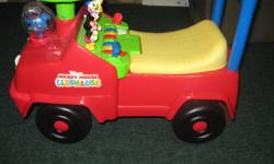 For sale is a Disney, Mickey Mouse ride on. This plays music and lights up and has a fun type of piano keyboard on the inside for kids to play as they ride along. It's still in very good used condition, our daughter has just become too big for it.   If