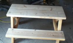"Hello everyone my boys and I make mini picnic table's for the kiddo's (indoor/outdoor use) there real great so far everybody loves em. Your kids will love them. 24"" to top 12 1/2"" to top of seat 38"" long 31"" wide they set 2-4 smaller kids. They're only"