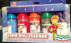 Mini snow marker coloring kit. Comes with 5 color markers and 10 packets of dye. Ages 5+. BRAND NEW! Looking for $15.00 for the set, contact Jodi at jodichatfield@live.com or at 780 289-7441