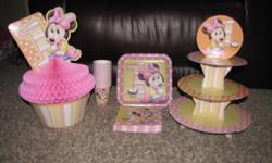I have some Minnie Mouse 1st birthday party supplies left over from my little girls birthday. I have 24 napkins, 14 cups, 1 plate, cupcake stand (used), and centerpiece.