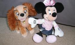 Minnie Mouse and Lady (from Lady and the Tramp) stuffed animals for only $5. From a smoke free, pet free home. They are washed and clean. If you buy my pet pillows (only $10 for both - see my other ad), you can have these for free. For free (with the pet