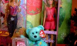 Excellent Christmas presents for a little girl! All brand new items, mint in store packaging! Included: Fashion Fever rock star style Barbie + City Style Barbie friend-doll (?Summer?). + Pink faux leather girls' fashion watch with crystal settings on