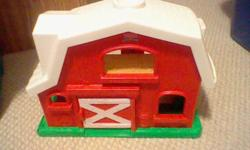 Picture 1: Fisher Price Barn. Comes with a bunch of accessories not shown in picture. $7 firm.   Picture 2: YMCA Elmo. Has working batteries. Asking $5 firm.   Picture 3: Little People Birthday set. Asking $5 firm.   Everything comes from a pet/smoke free