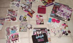 Comes with hair chalk, Wall Stickers to decorated bedroom wall, key chains for backpack or clothes, and stickers for books. All are in excellent condition and for this price.