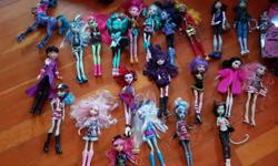Over 22 different monster high dolls and accessories including car, scooter, horse, disco, bed and more! Also have 2 posters And 2 puzzles for $10 and a monster high bed set worth over $100...asking $40. Everything is complete in really good condition.