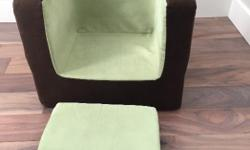 """Pink or Green your choice. Great chair made of thick durable foam covered with a soft durable micro suede. Cover is fully removable and washable. Kids are too big now :) DIMENSIONS: 20""""L x 17""""W x 16""""H 