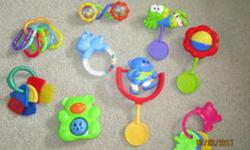 I have a bunch of toys for sale, used for my home daycare over a year ago. There is a lot of stuffed animals... $5.00 for all. 2 lots of baby toys such as rattles, teething toys and links.$5.00 each A bag of letter and number magnets, every letter and