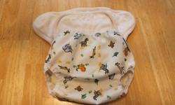 I have a gently used One Size cloth diaper with snap in liner. Included is the Air Flow cover, size medium fits 10-20 lbs, Savanna print.   The diaper has a couple of tiny stains, but is clean, and was only used a couple of times. The cover looks like