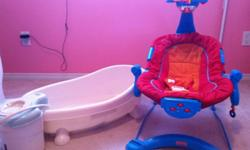 Picture one - bath tub and baby rocker (5 dollars each) Picture two - brand new breastfeeding pillow (15 dollars) Picture three - pamper box full of girls pjs, sleepers and two pieces, 6-12 months (10 dollars) This ad was posted with the Kijiji