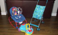 *Playskool Walk & Ride (great for learning to walk) - $10 *Cosco umbrella stroller (folds quickly for upright storage) - $8 *FisherPrice chair. Rocks, reclines, has musical toys (vibration mechanism broken) - $10   *Bright Stars Playmat. Musical lion,