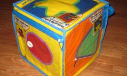 Small World Toys Neurosmith JUMBO Music Cube -bright colors -each side features a different shape and a song to go along with that shape -each side opens up in a different way to reveal an activity inside -soft yet sturdy, perfect for toddlers to pull up