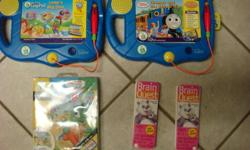 Gentely used, clean, with batteries. Two leap pads and threes bookles Two pads great for two kids sharing 3 interactive booklets.   Leaps big day. Thomas and the school trip. I know my ABC's   Also 2 Brain quest booklets 3rd edition 300 questions per