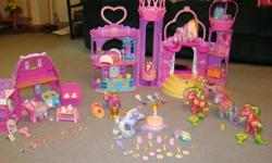 For Sale: 10 My Little Ponies, Castle -complete with furniture, brushes, charms & hot air balloon. Also has a birthday party set and soda shop with accessories. $25.00 for everything Please call 384-1649 or by email to this add.
