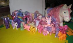 "A whole bunch of My Little Ponies, including a large one!  I think that only 2 of them are not ""actual"" my little ponies...the rest are the real thing!"