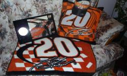 All items brand new... Nascar   #20,   Tony Stewart Visor Hat; Floor Mat 20 x 30; Clock 9.5  x 16;  Pillow 18 x 18 Asking $30. for everything.  Would make someone a great Christmas gift!!