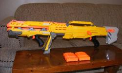A collection of Nerf Blasters all working with lots of darts.   Make an offer.   2 other guns are part of the collection but forgot to take pictures of them. They are the firefly and a night finder with laser sight.   All blasters are full with darts plus
