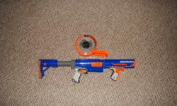 I have a nerf gun for sale forgot the name is in brand new condition am selling it for 15 bucks somewhere around 30 in stores great christmas present