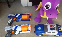Nerf Toys guns and Police car with sounds New are 22.47 HERE FOR 10.00 each also the car is 10.00