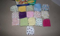All baby stuff is new and has not been used or washed etc, everything was bought for crafts but no longer have the time.Need gone as soon as possible. 58 baby wash clothes 7 receiving blankets 6 burp clothes 3 bibs 8 socks 7 stuff animals 1 elephant