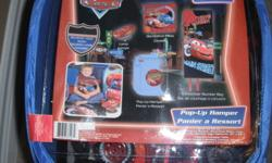 """New Disney Pixar Cars Room on the Go set   Includes: Lamp, decorative pillow, convertible slumber bag (opens to 50"""" x 60"""") &, pop up hamper   Great gift for your little Lightning McQueen Car fan    Great value at $50, pick up in Whitby"""