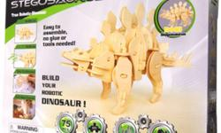 Robotime® Remote Controlled Robotic 3D Puzzle Wooden Dinosaurs  Build your own stegosaurus and watch it come to life!   Check this Youtube video for a live demonstration --http://www.youtube.com/watch?v=KwSomm1BoMM     Features:   Simply follow the