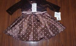 Marc & Maddie 3-6m Fancy Brown & Pink Polka Dot Dress with Velvet Shrug!   ADORABLE!