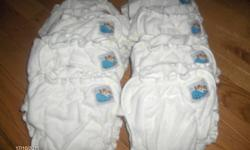 8 cloth diapers. Diapers have three snaps on each side to grow with baby.