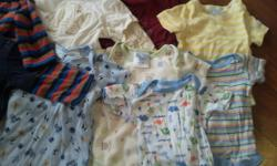 I have two very large bags filled with clothes for a newborn baby boy all the way to infant clothing sizes range from 0 to 18 months. Everything you would need. sleepers,undershirts,pants,sweaters,sweatpants,shirts,socks,bibs,hats. Everything brand name