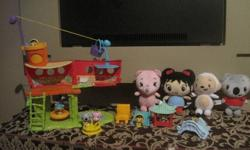 Perfect for the Kai-Lan lovers comes with playset that is a pirate ship and all accesories in the picture, including figures and little stuffed Kai-Lan and friends! The pirate ship also has a elevator in it!