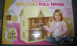 I have a beautiful Happily Ever After WOODEN Doll House by Learning Curve. It is BRAND NEW in Box and inlcudes 19+2 (I will throw in two NEW KidKraft dollhouse dolls) accessories (furniture and people). Its dimensions are 45.7x38.1x61cm or 18x15x24in.