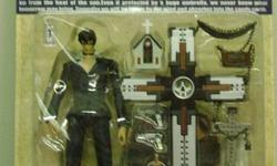 "Anime Trigun Trigun action figure 22 points of articulation slide open Machine Gun... Very nice lots of options. Prepainted action figure. Very posable. Includes guns, chains, crosses, cross grave markers extra hands and the ""Punisher"" - the LARGE"
