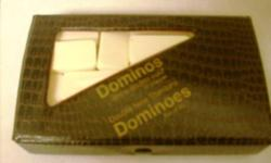 Complete domino set in case, six on six made of high quality durable acrylic. Comes in handy storage box. Great to take along on trips to keep busy.